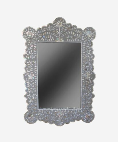 Mother of Pearl Grey Mirror Frame
