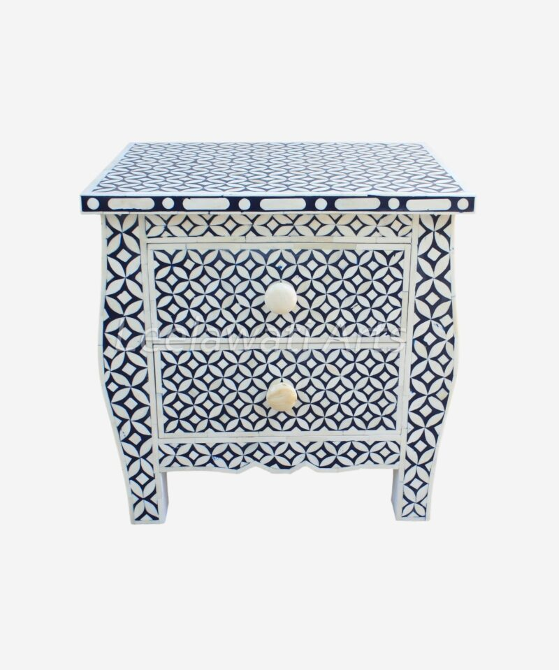 Bone Inlay Two Drawer Bedside Table