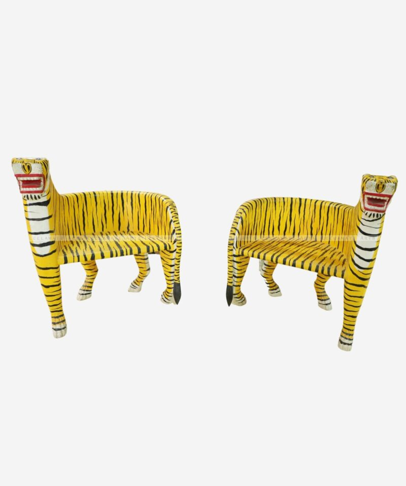 Wooden Hand Painted Tiger Chairs
