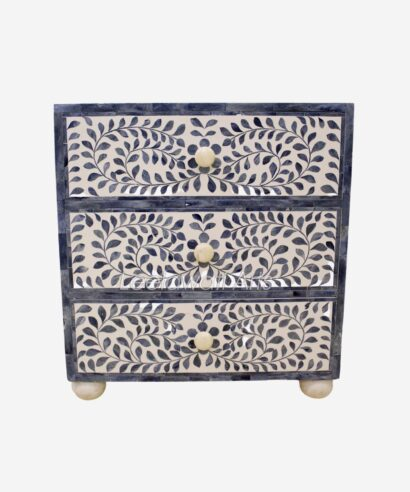 Bone Inlay Drawer Bedside Table