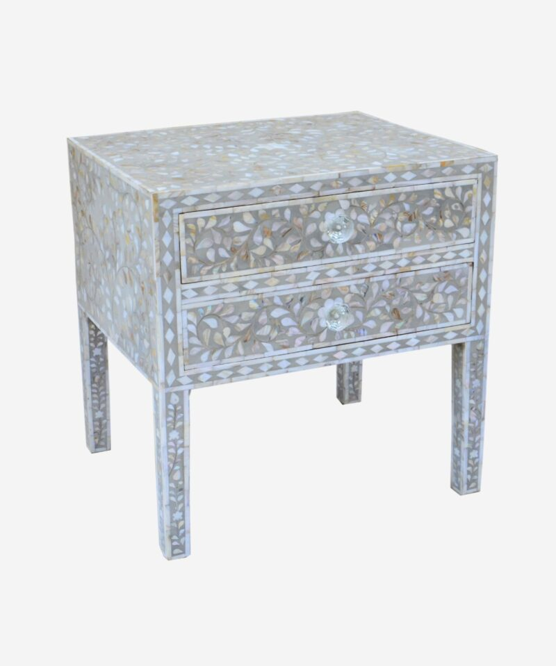Mother Of Pearl White Bedside Table