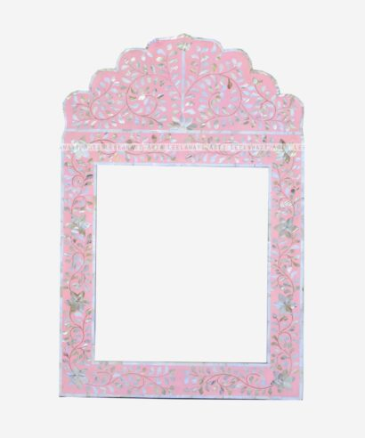 Mother Of Pearl Pink Mirror Frame