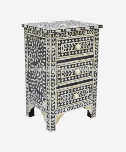 bone inlay 3 Drawer Bedside Table