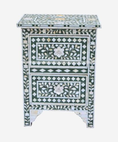 Mother Of Pearl 2 drawer Bedside Table
