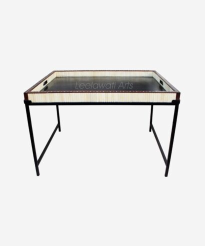 bone inlay stand serving tray