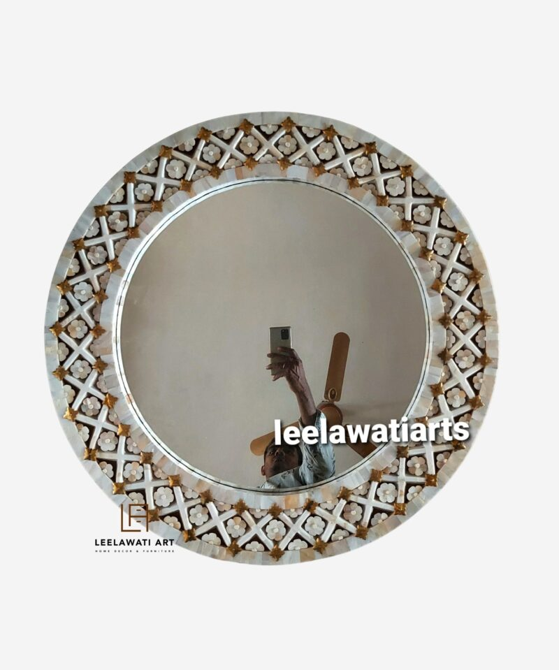 Mother of Pearl Round Mirror Frame