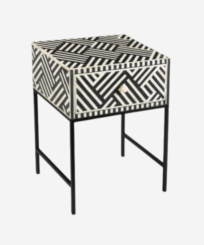 Bone Inlay 1 Drawer Bedside Table